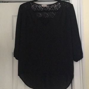 Everly Black 3/4 Sleeve Blouse with lace detail